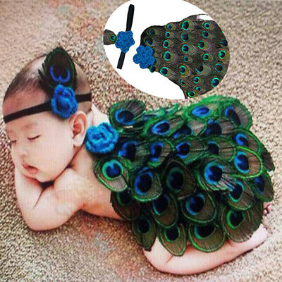 New Baby Peacock Headband Costume Knit Crochet Photography Prop Outfit Set 0-12M