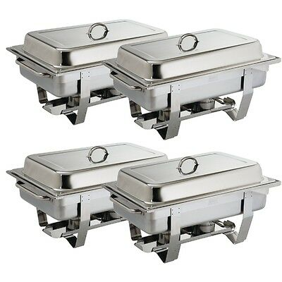 4 X Chafing Dish 9 Litre Bain Marie Chafer Gastronorm Stainless Steel HEAVY DUTY