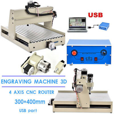 4 Axis USB 3040 CNC Router Engraver Engraving Milling Cutting Machine 220V 400W