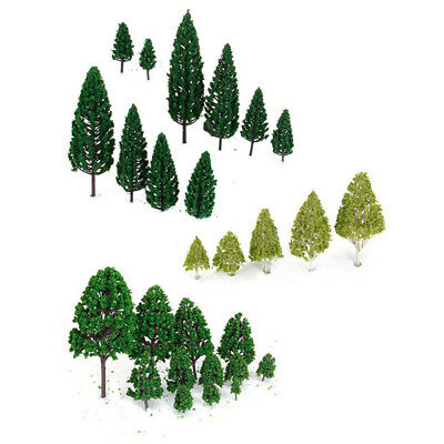 20X(27 pcs Scenery Layout Landscape Train Model Trees 3-16cm 3-Type V5L3)