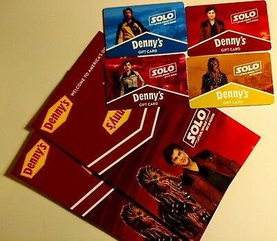 Star Wars: Solo rare complete gift card set and 2 holders BRAND NEW Denny's