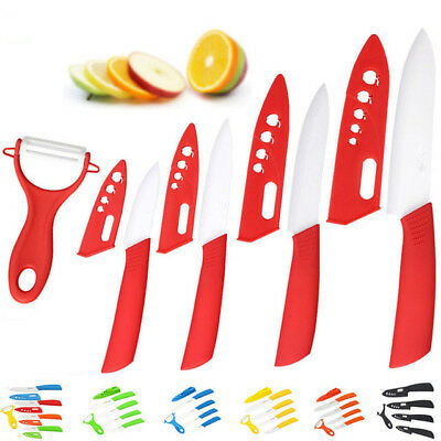 "4 Ceramic Knife set Chef Kitchen Knives+fruit Peeler+Cover 3""4""5""6 inch Colorful"