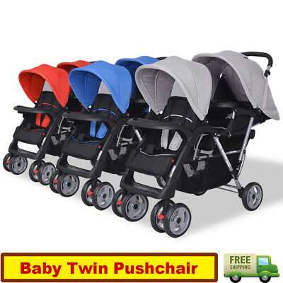 Baby Tandem Toddler Stroller Twin Pram Pushchair Buggy Double Seat Foldable Hot