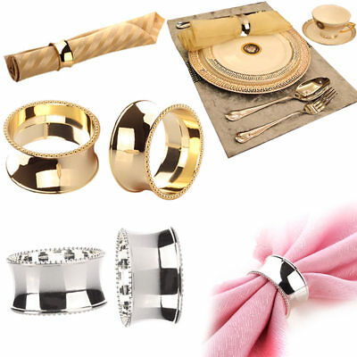 2pcs Stainless Steel Napkin Rings for Dinners Hotel Parties Weddings Supplies