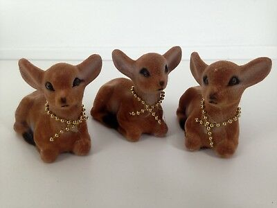 Lot of 3 - Vintage Fuzzy Plastic Deer Fawn Figurine Spotted Laying Down