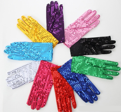 Fashion Unisex Sequin Gloves Fancy Dress Dance Party Stage Jazz Clown Gift UK