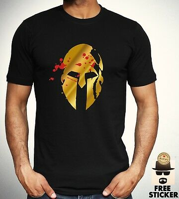Spartan Helmet T shirt Spartacus Troy Warrior Gold Print Gold Print Gym Top Mens