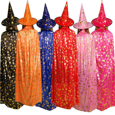 UK Adult Kids Cloak+Hat Witch Wizard Cape Halloween Cosplay Costume Party New