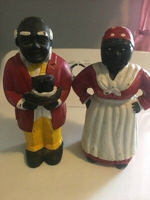 Black Americana Aunt Jemima & Uncle Moses Cast Iron Banks Door Stops Large 11""