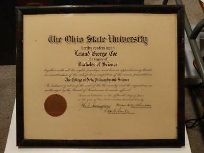 1175----1920 Ohio State University diploma - Dr. Leland Coe - Youngstown OH