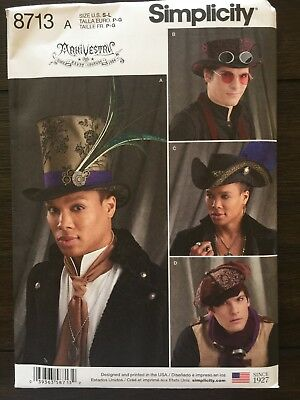 Simplicity 8713 Hats 4 Styles 3 Sizes Steampunk Sewing Pattern New