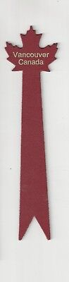 Vancouver Canada. Red Leather Bookmark.