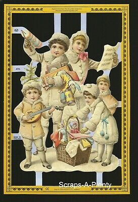 Mamelok English Scrap Die Cut- Singing Winter Children (Archives Collection) A53