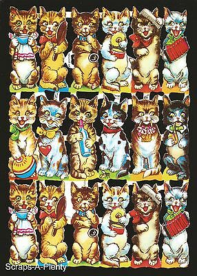 German Victorian Style Embossed Scrap Die Cut Relief - Cats / Kittens  EF7138