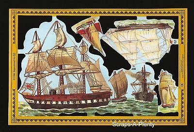 Mamelok Embossed English Scrap Die Cut - Sailing Ships (Golden Series) WOW   A30