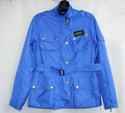BARBOUR International ladies jacket blue belt coat UK8 S field quilted lining
