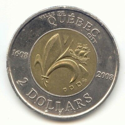 Canada 1608-2008 Quebec City Toonie Canadian 2 Dollar Two Dollar 2008 EXACT COIN
