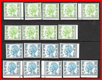 BELGIUM 1974 OFFICIAL RAILROAD POST lot of 18 STAMPS SC#O75-76 MNH TRAINS