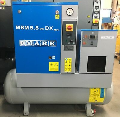 Mark MSM5.5 Rotary Screw Compressor With Dryer! Immaculate! 5.5Kw Low Hours