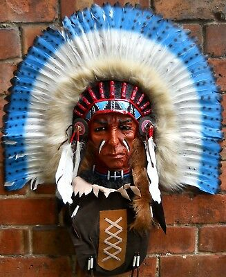 Amazing Large Plastic Mask 60x65 cm Tecumseh Red Indian Chief Head Wall Decor