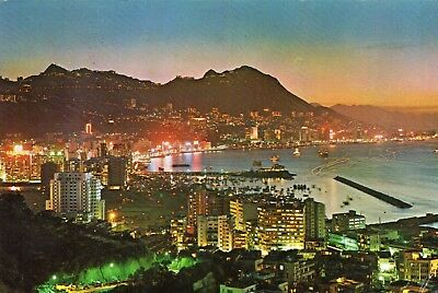 EVENING  CENTRAL  HONG KONG  continental size chrome -  postally used 1968