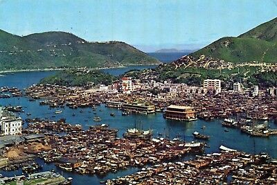 AERIAL VIEW  ABERDEEN  HONG KONG  continental size chrome -  postally used 1964