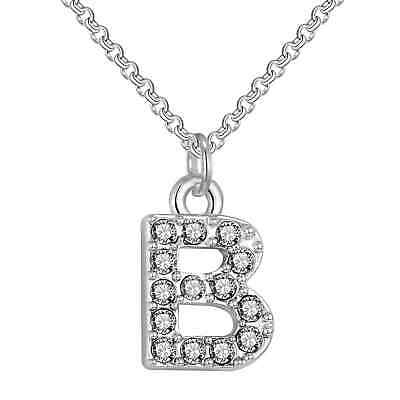 Pave Initial Necklace Letter B Created with Swarovski® Crystals by Philip Jones