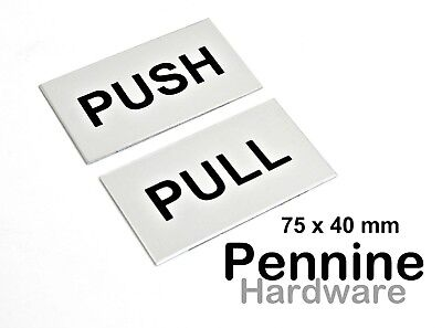 PUSH / PULL Self Adhesive Door Signs 75 x 40mm Aluminium or Stainless Steel