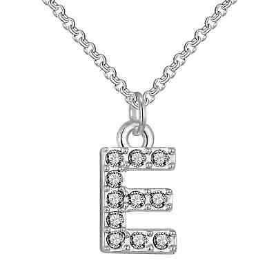 Pave Initial Necklace Letter E Created with Swarovski® Crystals by Philip Jones