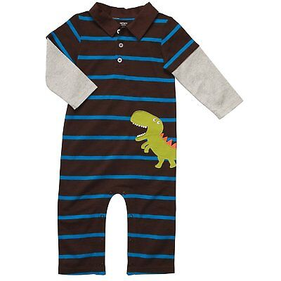 Carter's Infant Long Sleeve One Piece Polo Coverall - Happy Dinosaur-24 Months