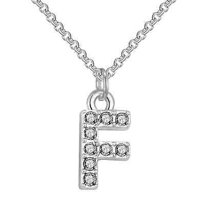 Pave Initial Necklace Letter F Created with Swarovski® Crystals by Philip Jones