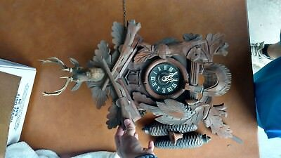 Vintage 1969 Black Forest Cuckoo Clock West Germany, Dancers Music, Hunter Theme