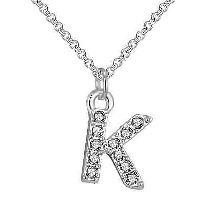 Pave Initial Necklace Letter K Created with Swarovski® Crystals by Philip Jones