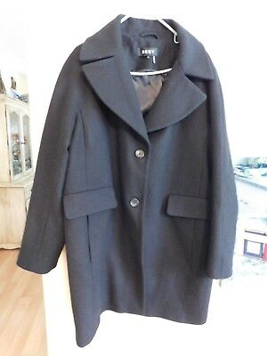 Women's or Men's Wool Coat - Black - Buttons are on left hand side - Size L