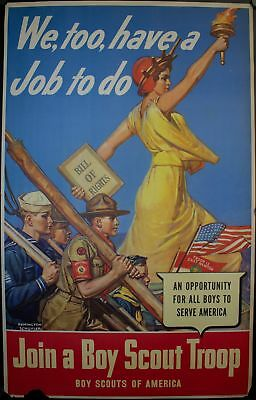 1942 We Too, have a Job To Do Join a Boy Scout Troop WW2 Poster Vintage Original