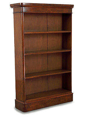 Victorian Figured Walnut Open Bookcase