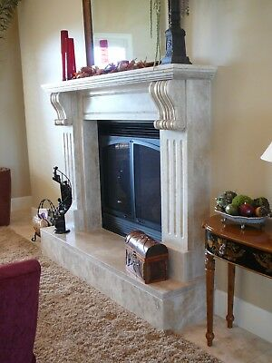 "LARGE Hand carved Travertine Mantel – Corbel Mantle – 75"" LIMESTONE"