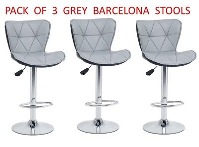 3 x BARCELONA GREY Bar Stools Barstool Kitchen Pub Stools Breakfast Bar Chairs