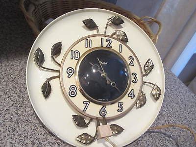 """1950s United Vintage Round 10"""" Electric Wall Clock Ivory & gold leaves Working"""