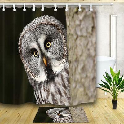 Oil painting owl and full moon Shower Curtain Bathroom Fabric /& 12hooks 71*71in