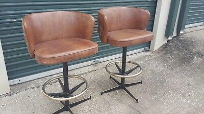 Two Vintage Daystrom Mid Century Vinyl Leather Swivel Club Barstools