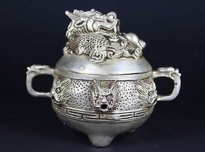 The adornment of the ancient Chinese dragon old copper incense burner by hand