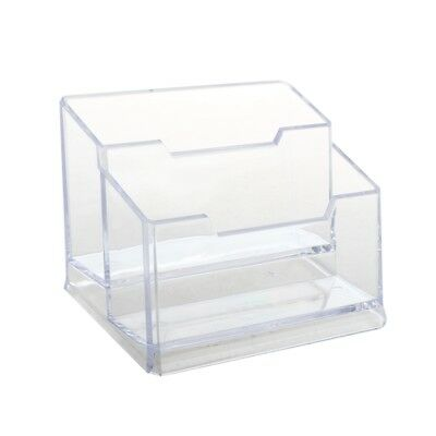 Transparent Plastic Bussiness Card 2-Tier Stand Holder R9M5