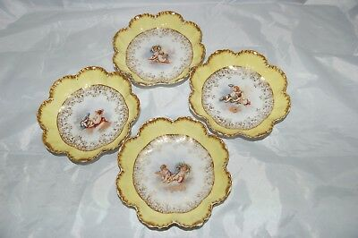 Set of 4 Antique Limoges Cherub Plates Scalloped Gold w/ Yellow A. Lanternier