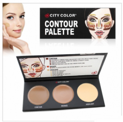 "CONTOURING- CORRECTEUR-PRO maquillage "" CITY COLOR "" Palette 3 couleurs+Liner NF"