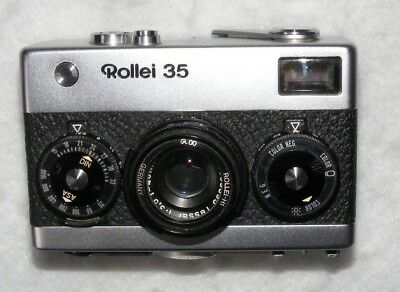 Rollei 35, 35mm film camera with Tessar 40mm F3.5 lens, German. NEEDS ATTENTION.