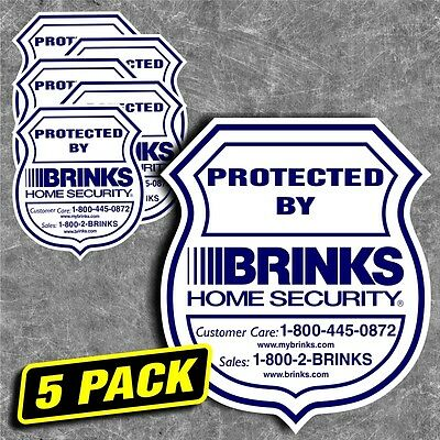 Security Home Brinks Alarm System Sticker Decal sign window outside warning 5pk