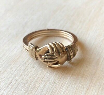Vintage 14k Yellow Gold FEDE Gimmel Clasping Hands with Hidden Heart Ring