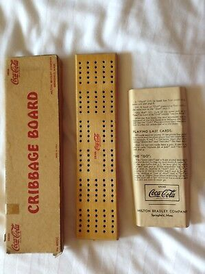 Vintage 1940's Coca-Cola Cribbage Board, Box and Instructions Milton Bradley