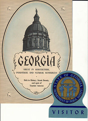 Georgia Great in Agriculture, Industrial... 1935-42 Booklet & Visitor's Sticker